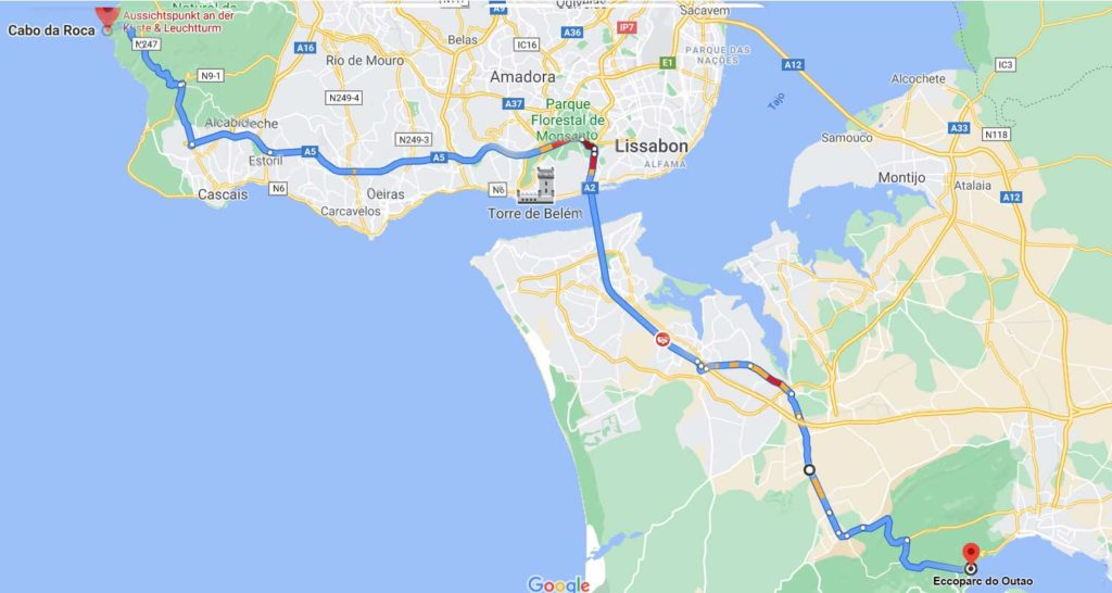Karte nach Setubal