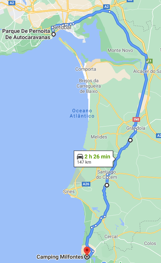 Karte nach Vila Nova de Milfontes