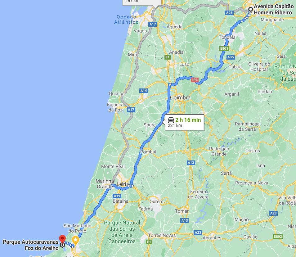 Anreise nach Foz do Arelho